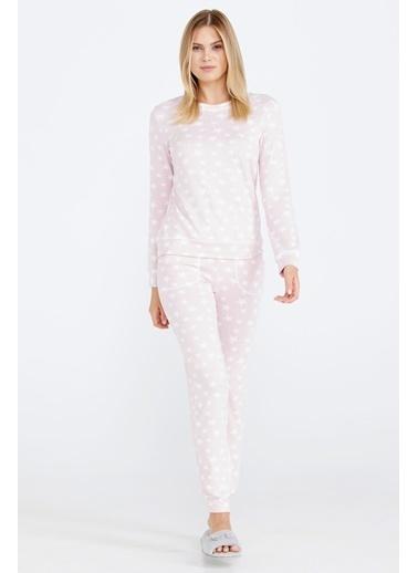 Sementa Yumuşak Dokulu Desenli Kadın Pijama Takımı - Pembe Pembe